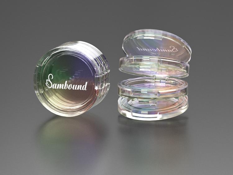 化妆品生产厂家定做电镀幻彩粉饼盒