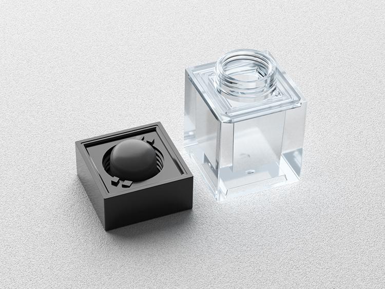 四方形透明眼霜/粉底分装瓶注塑