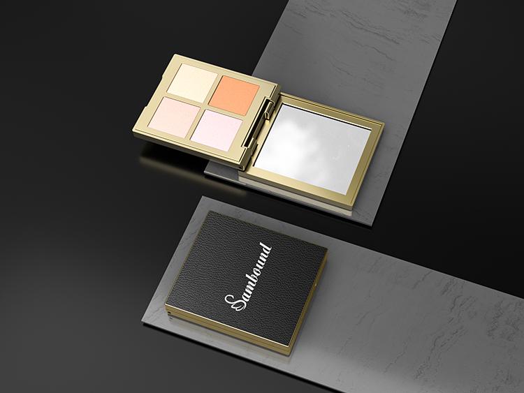 仿皮革纹理四色眼影盘包装加工定制