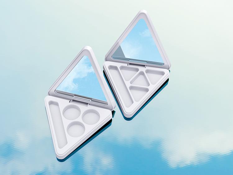 白色三角形空眼影盒包材加工注塑